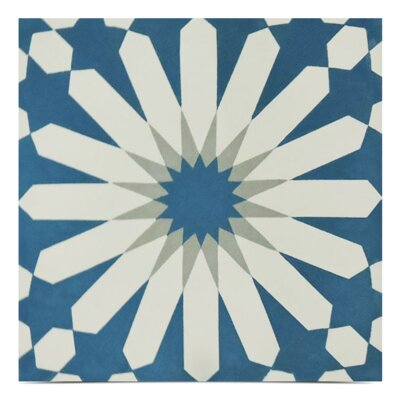 Alhambra Handmade 8 x 8 Cement Field Tile in Blue/Beige