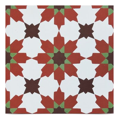 Ahfir Handmade 8 x 8 Cement Field Tile in Red/Black