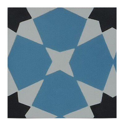 Wazane Handmade Cement Mosaic Tile in Blue/Black/Gray