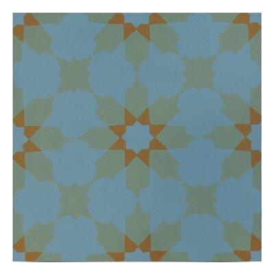 Ahfir Handmade 8 x 8 Cement Field Tile in Blue/ Green
