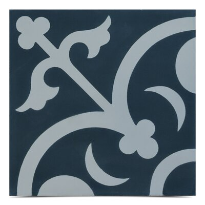 Nador Handmade 8 x 8 Cement Field Tile in Navy Blue/ White