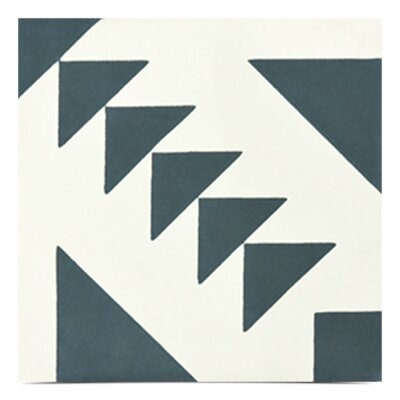 Tadla Handmade 8x 8 Cement Field Tile in Navy Blue/White