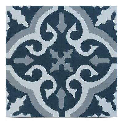 Argana Handmade 8x 8 Cement Field Tile in Navy Blue/White