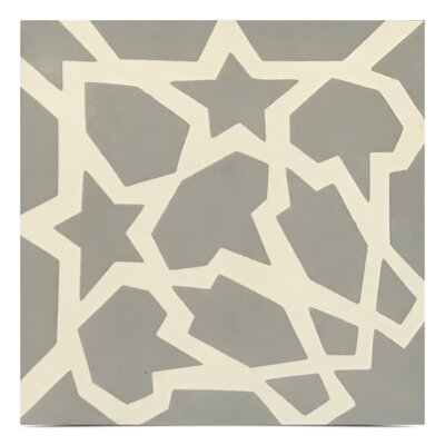 Bahja Handmade 8x 8 Cement Field Tile in Gray/White