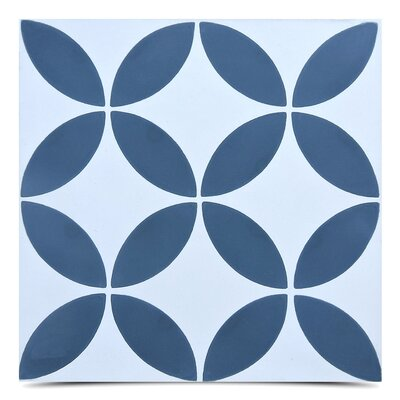 Amlo Handmade 8 x 8 Cement Field Tile in Navy Blue/White