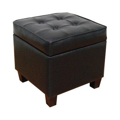HomePop Storage Ottoman Color: Black