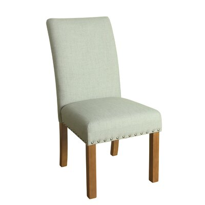 Michele Side Chair Upholstery: Pale Blue, Finish: Honey Oak