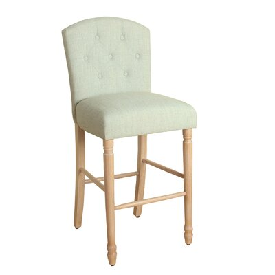 Delilah 29 Bar Stool Finish: White Washed, Upholstery Color: Asparagus Green