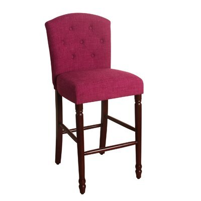 Delilah 29 Bar Stool Finish: Dark Walnut, Upholstery Color: Azelea Pink