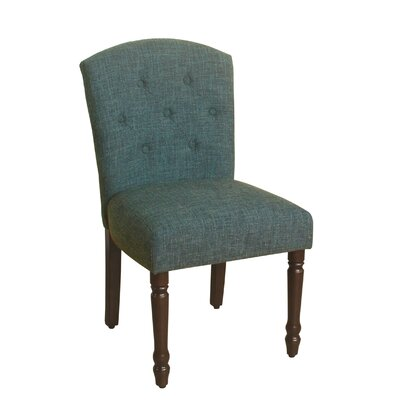 Delilah Table Side Chair Upholstery: Deep Teal, Finish: Dark Walnut