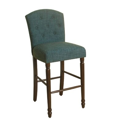 Delilah 29 Bar Stool Finish: Dark Walnut, Upholstery Color: Deep Teal
