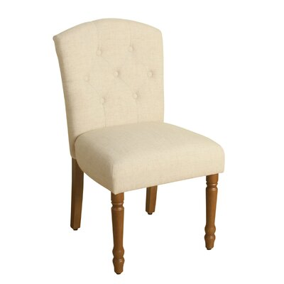 Delilah Table Side Chair Upholstery: Natural Linen, Finish: Honey Oak