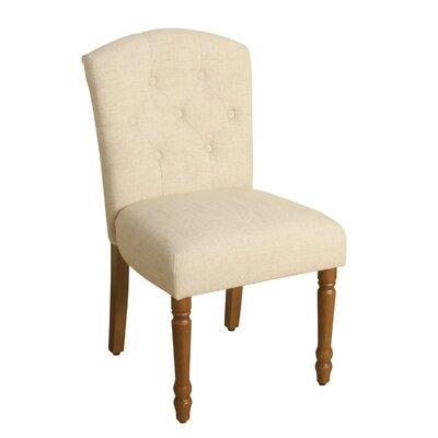 Delilah Table Side Chair Upholstery: Natural Linen, Finish: Honey Oak