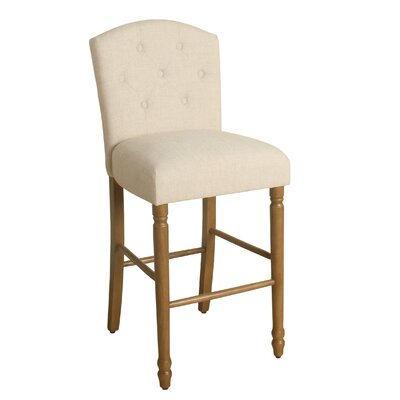 Delilah 29 Bar Stool with Cushion Finish: Honey Oak, Upholstery Color: Natural Linen