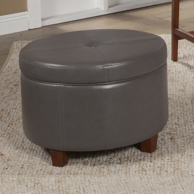 Salvatore Large Round Storage Ottoman Upholstery: Charcoal Gray