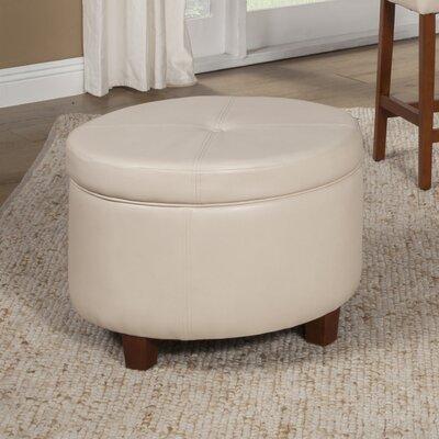 Large Round Storage Ottoman Upholstery: Ivory
