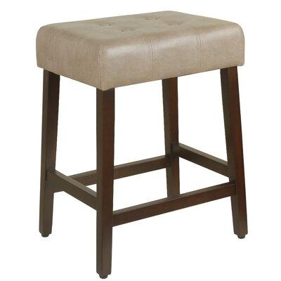 Northlake 24 inch Bar Stool Upholstery: Taupe, Finish: Dark Walnut