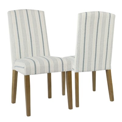 Lake Kathryn Stripe Parsons Chair Finish: Gray Washed, Upholstery: Dove Gray