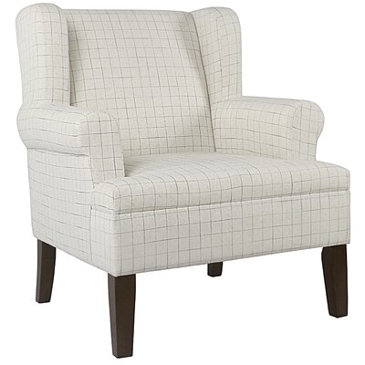 London Plaid Rolled Wing back Chair