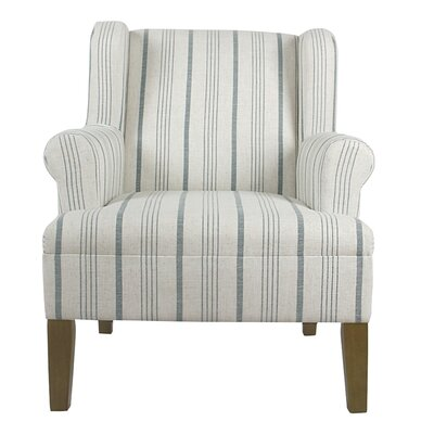 London Rolled Wing back Chair Upholstery: Blue