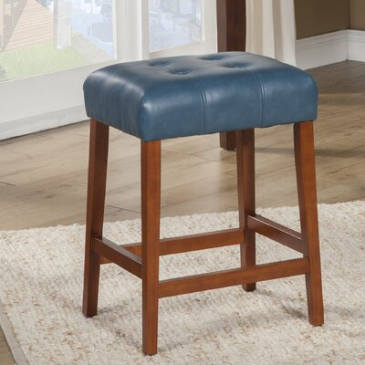Northlake 24 inch Bar Stool Upholstery: Teal, Finish: Mid-Tone Brown