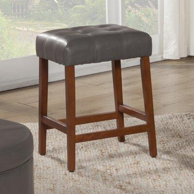 Northlake 24 Bar Stool Upholstery: Charcoal Gray, Finish: Mid-Tone Brown