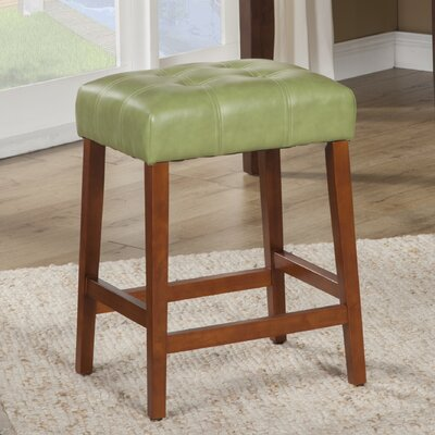 Northlake 24 Bar Stool Upholstery: Moss Green, Finish: Mid-Tone Brown