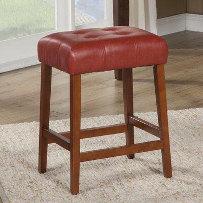 Northlake 24 Bar Stool Upholstery: Cinnamon Red, Finish: Mid-Tone Brown