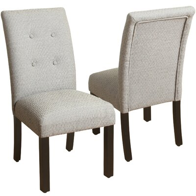 Traynor 4-Button Tufted Parsons Chair Upholstery: Gray