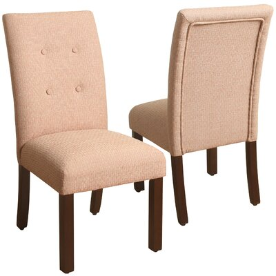 Traynor 4-Button Tufted Parsons Chair Upholstery: Orange