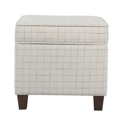 Carrol Windowpane Square Lift Off Storage Ottoman