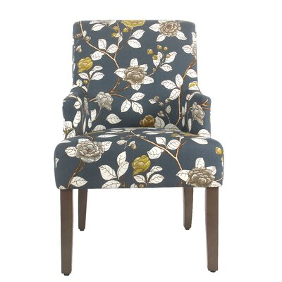 Arrowwood Cotton Upholstered Dining Chair Color: Navy Floral