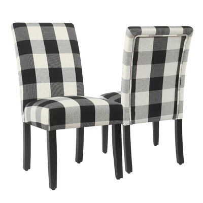 Nariani Upholstered Nariani Chair Upholstery Color: Black Plaid, Leg Color: Black