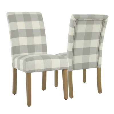 Nariani Upholstered Nariani Chair Upholstery Color: Gray Plaid, Leg Color: Beige