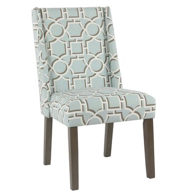Bowers Contemporary Upholstered Dining Chair Upholstery Color: Aqua Lattice