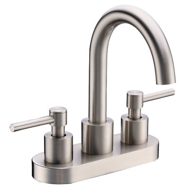 Centerset Three Hole Bathroom Faucet Finish: Brushed Nickel, Optional Accessories: With Pop-Up Drain