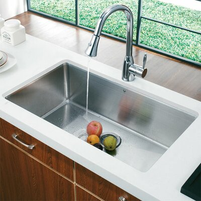 Single Handle Single Hole Kitchen Faucet with Pull-Down Finish: Polished Chrome