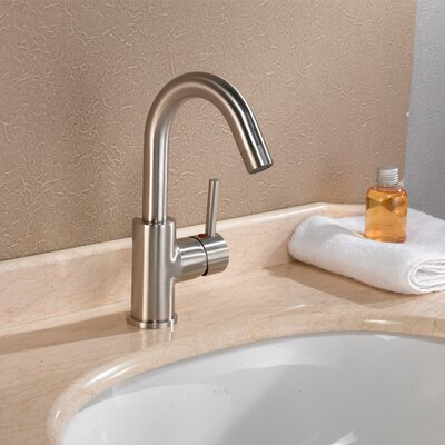 Single Handle Single Hole Bathroom Faucet Finish: Brushed Nickel, Optional Accessories: With Pop-Up Drain