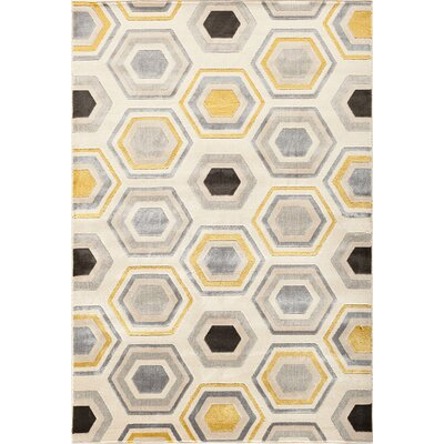 Suffolk Beige/Gold Area Rug Rug Size: Rectangle 710 x 910