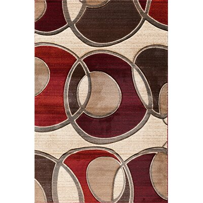 Badgett Beige/Red Area Rug Rug Size: Rectangle 5 x 76