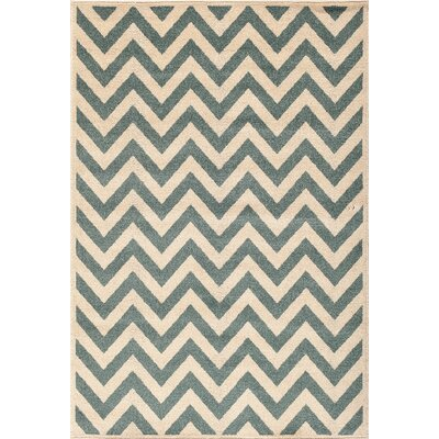 Darcy Bone/Blue Indoor/Outdoor Area Rug Rug Size: 67 x 96