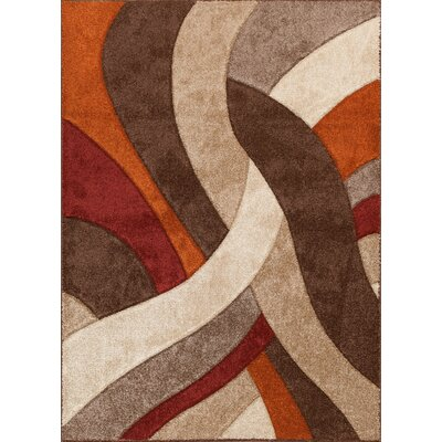 Alford Brown/Red Area Rug Rug Size: 710 x 910