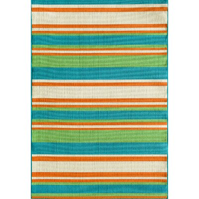 Greenbaum Stripe Turquoise Indoor/Outdoor Area Rug Rug Size: 5 x 73