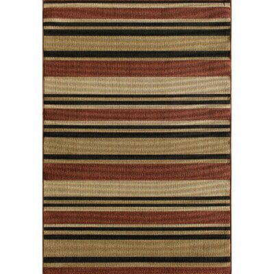 Greenbaum Stripe Red/Beige/Black Indoor/Outdoor Area Rug Rug Size: 5 x 73