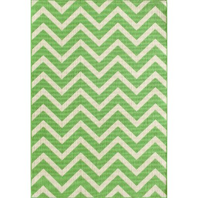 Fayia Chevron Green/White Indoor/Outdoor Area Rug Rug Size: 67 x 96