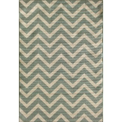 Fayia Chevron Silver/Blue Indoor/Outdoor Area Rug Rug Size: 67 x 96
