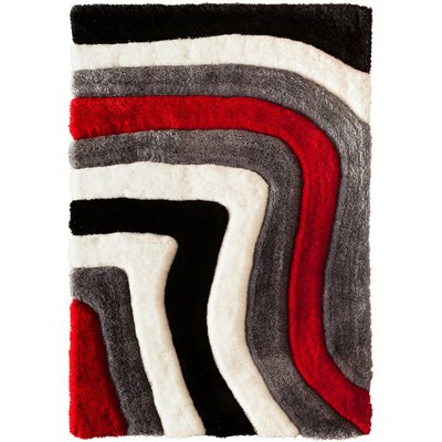 Hand-Carved Gray/Red Area Rug Rug Size: 66 x 96