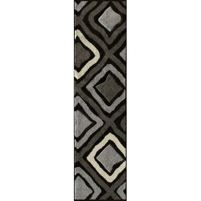 Alford Hand-Woven Black Area Rug Rug Size: Runner 2' x 7'7