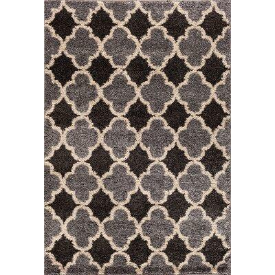 Hamilton Silver/Black Area Rug Rug Size: 710 x 910