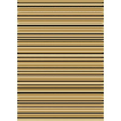 Dimensions Elude Stripe Beige / Gold Contemporary Rug Rug Size: 53 x 77
